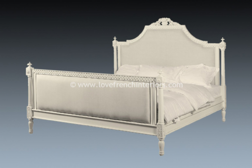 Isabelle Upholstered Bed in Antique White